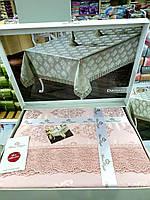 Пудровая скатерть жаккард с кружевом прямоугольная скатерть на о 160х220  DAMASK  Pudra, Maison Royale Турция
