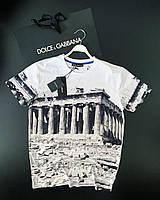Футболка мужская брендовая белая с рисунком архитектуры Летняя мужская футболка