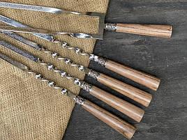 """Шампура подарункові з ручками з дерева """"Версаль"""" + подвійний шампур, в шкіряному сагайдаку"""