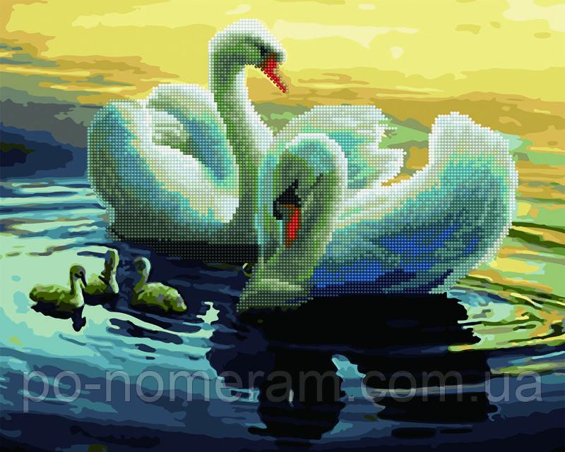Алмазные картины-раскраски Rainbow Art Лебеди на пруду (GZS1096) 40 х 50 см (Без коробки)
