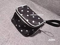 Черная косметичка в горошек 15*10*10см Модель А006, фото 1
