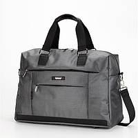Спортивно дорожная сумка серого цвета Dolly 792 большая с плечевым ремнем и карманами 51*34*20 см
