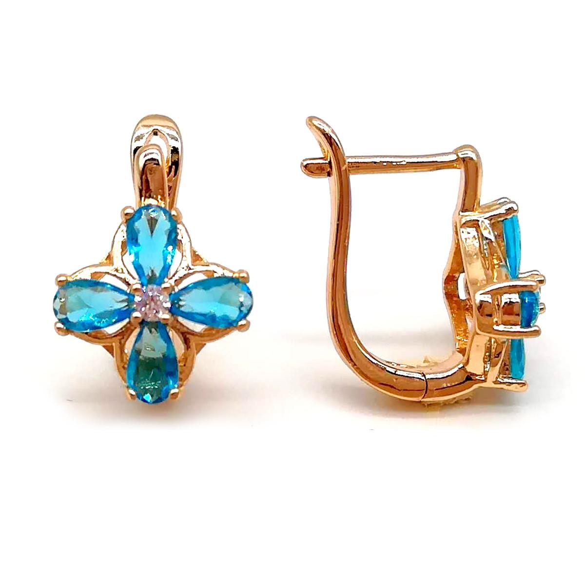 Сережки Xuping з медичного золота, блакитні фіаніти, позолота 18К, 23842 (1)