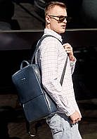 Рюкзак городской мужской кожаный синий