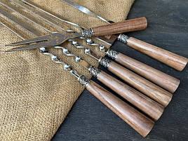 """Набір шампурів ручної роботи з ручками з дерева """"Версаль"""" + подвійний шампур + виделка, в шкіряному сагайдаку"""