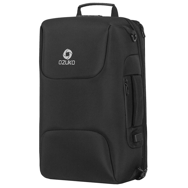 Рюкзак-сумка міської Ozuko 9225 Black дорожня трансформер для подорожей з USB-портом кодовим замком