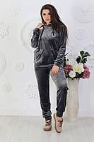 Спортивный велюровый женский костюм полубатал, батал р-ры 44-60