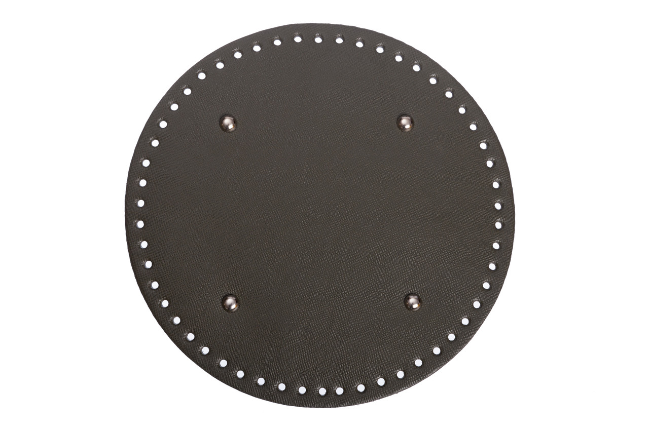 Донышко круглое для сумки экокожа Хаки Ø 22 см с ножками фурнитура серебро