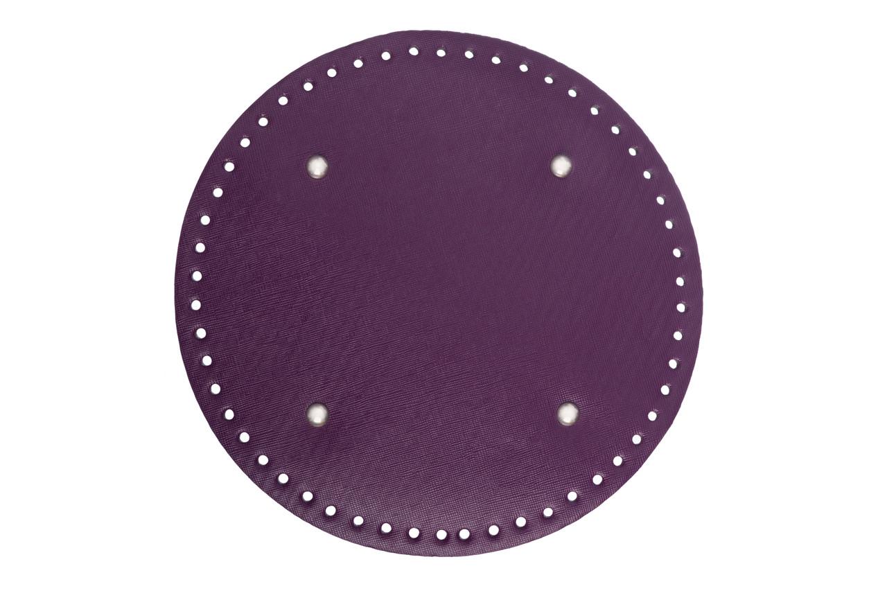 Донышко круглое для сумки экокожа Лиловое Ø 22 см с ножками фурнитура серебро