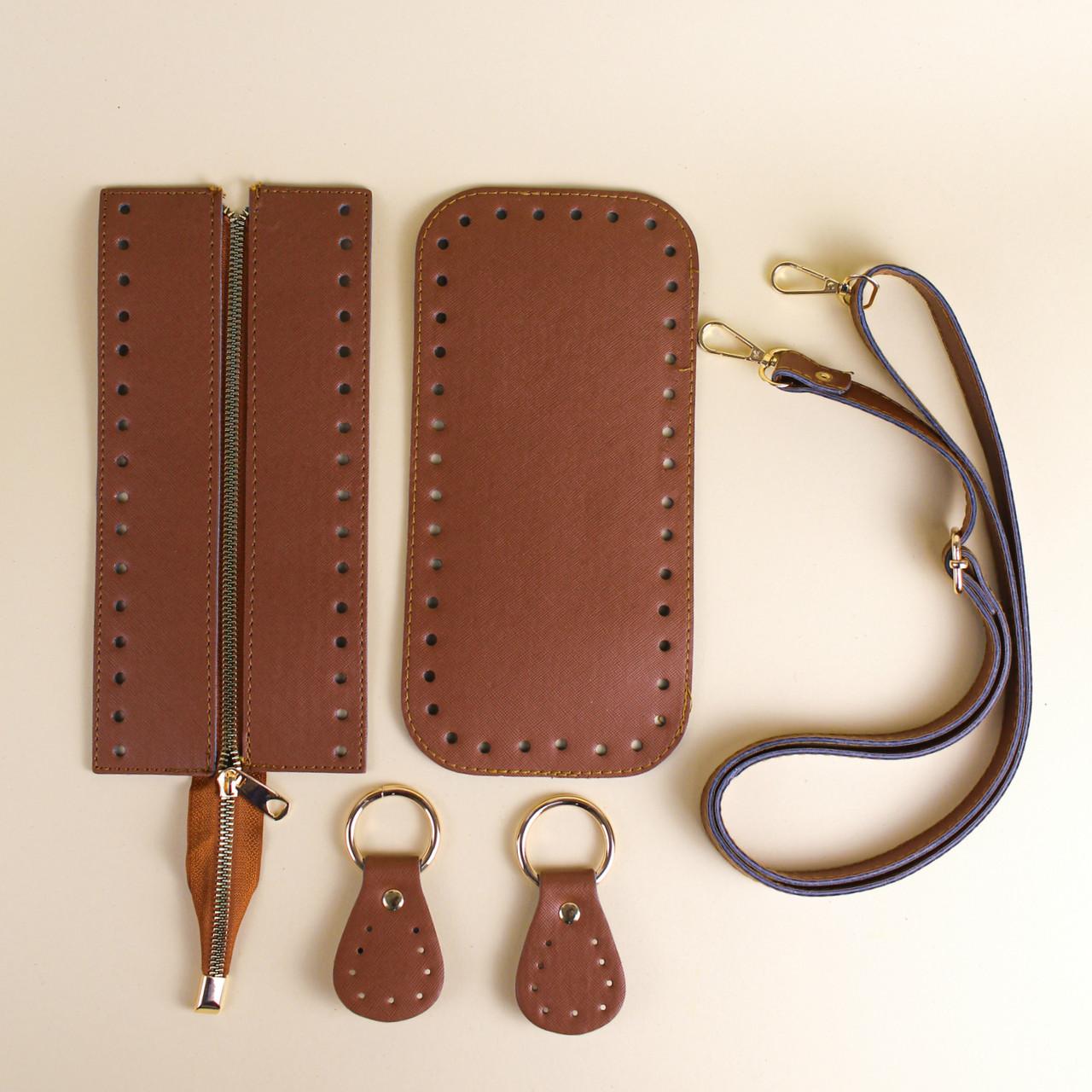 Набор для сумки экокожа Браун: донышко+верх на змейке 12х25см с регулируемой ручкой