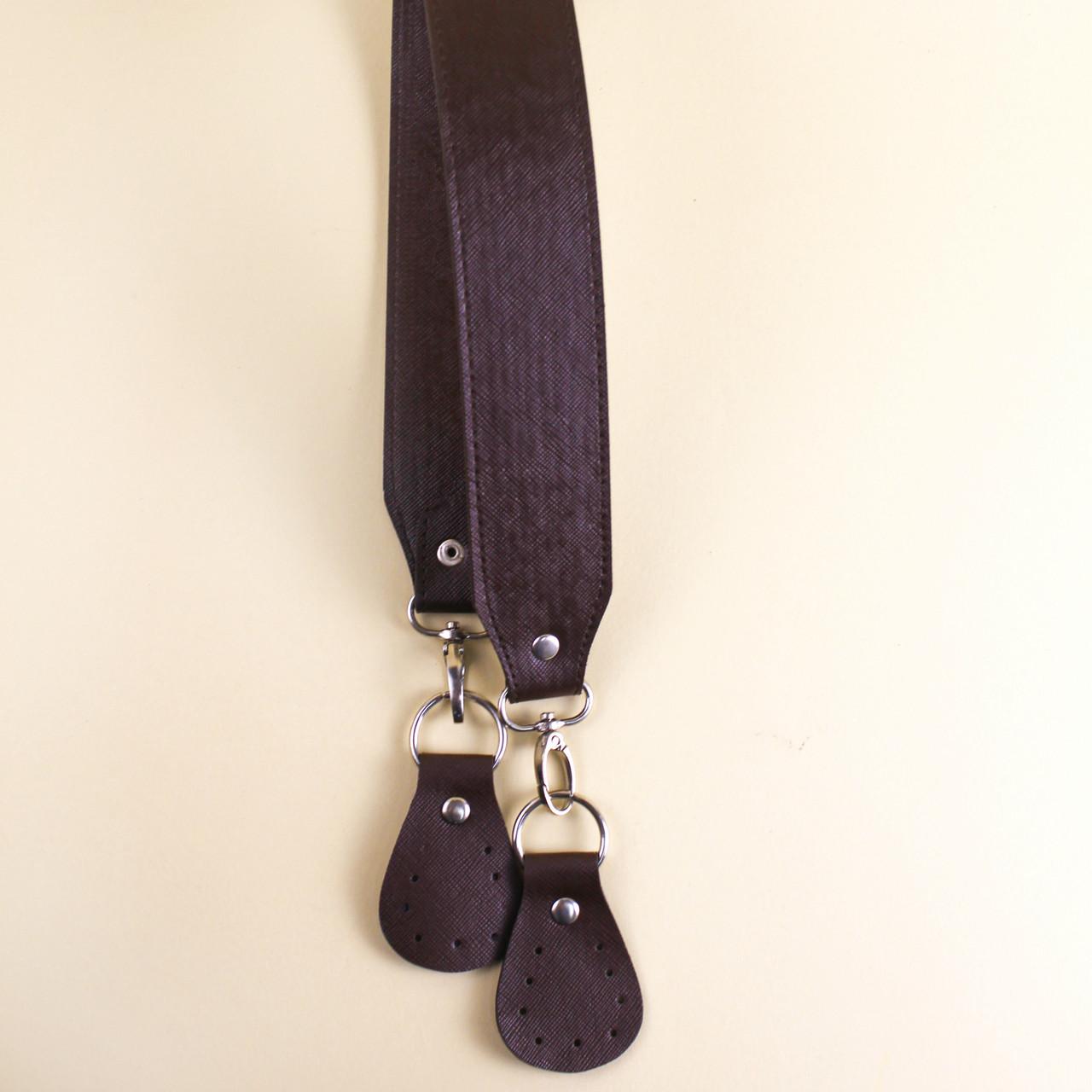 Ручка для сумки экокожа Шоколад, 53 см с пришивными шлевками