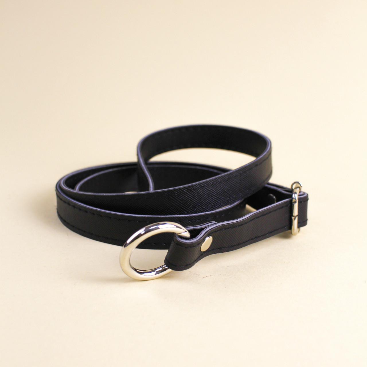 Ручка для сумки экокожа Черная, 68-126 см, на кольцах-карабинах
