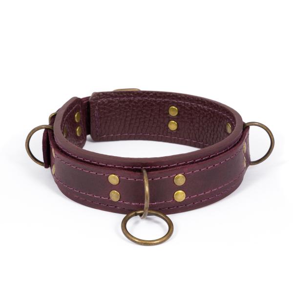 Премиум ошейник LOVECRAFT размер M фиолетовый, натуральная кожа, в подарочной упаковке 18+