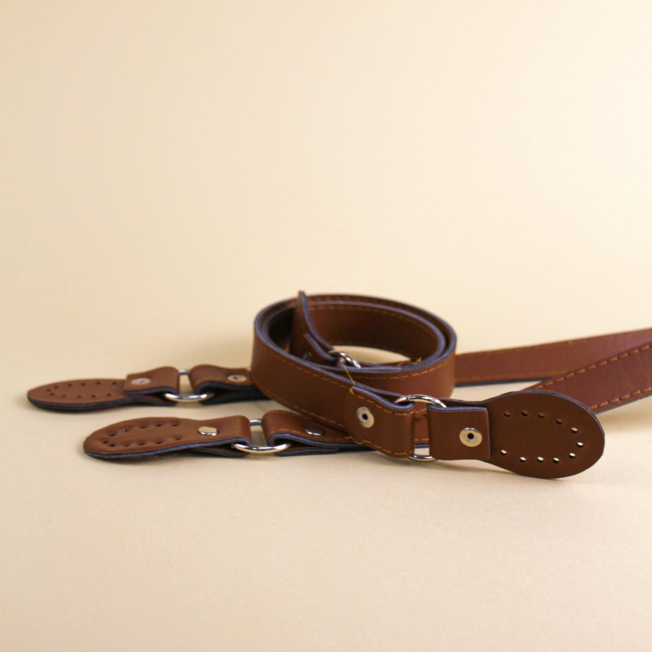 Комплект ручек для сумки экокожа Браун, 63 см, с пришивными шлевками