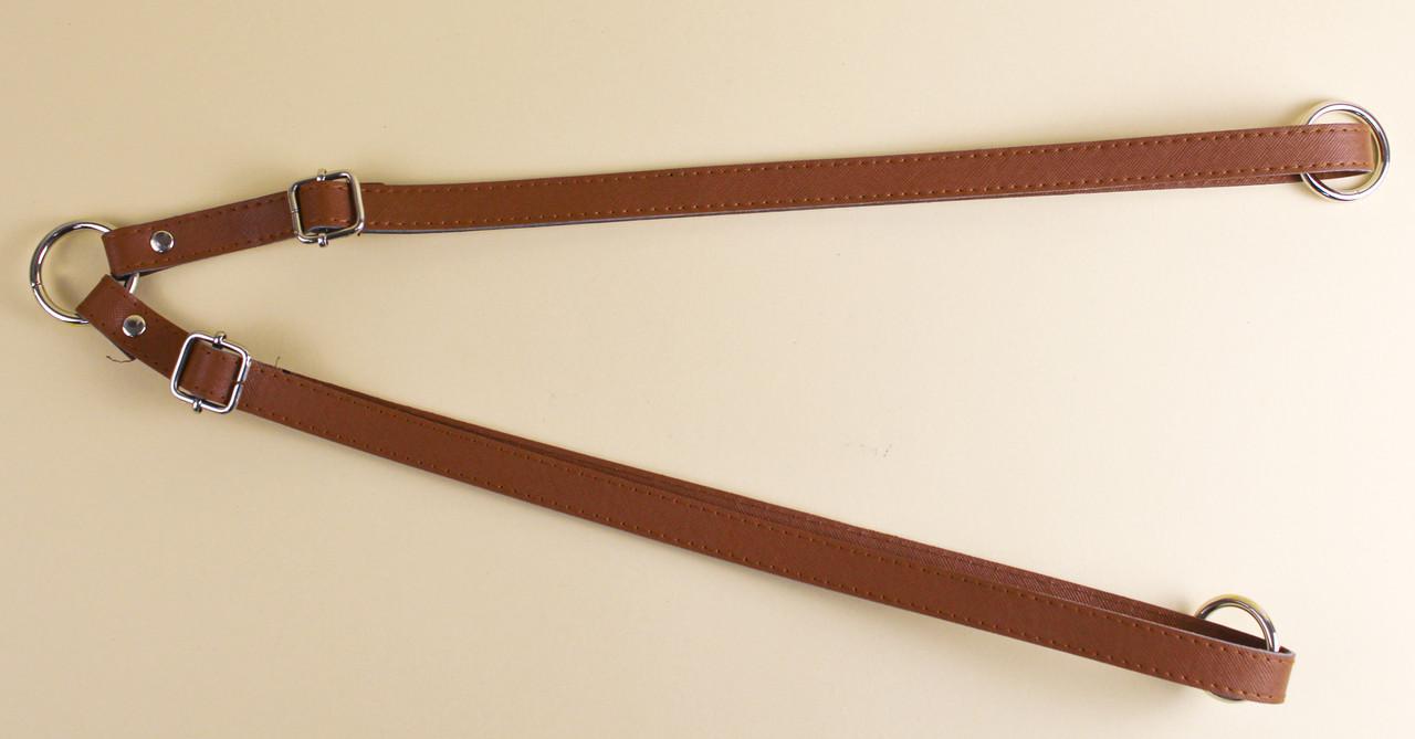 Ремни для рюкзака экокожа Браун 47-85 см, на кольцах
