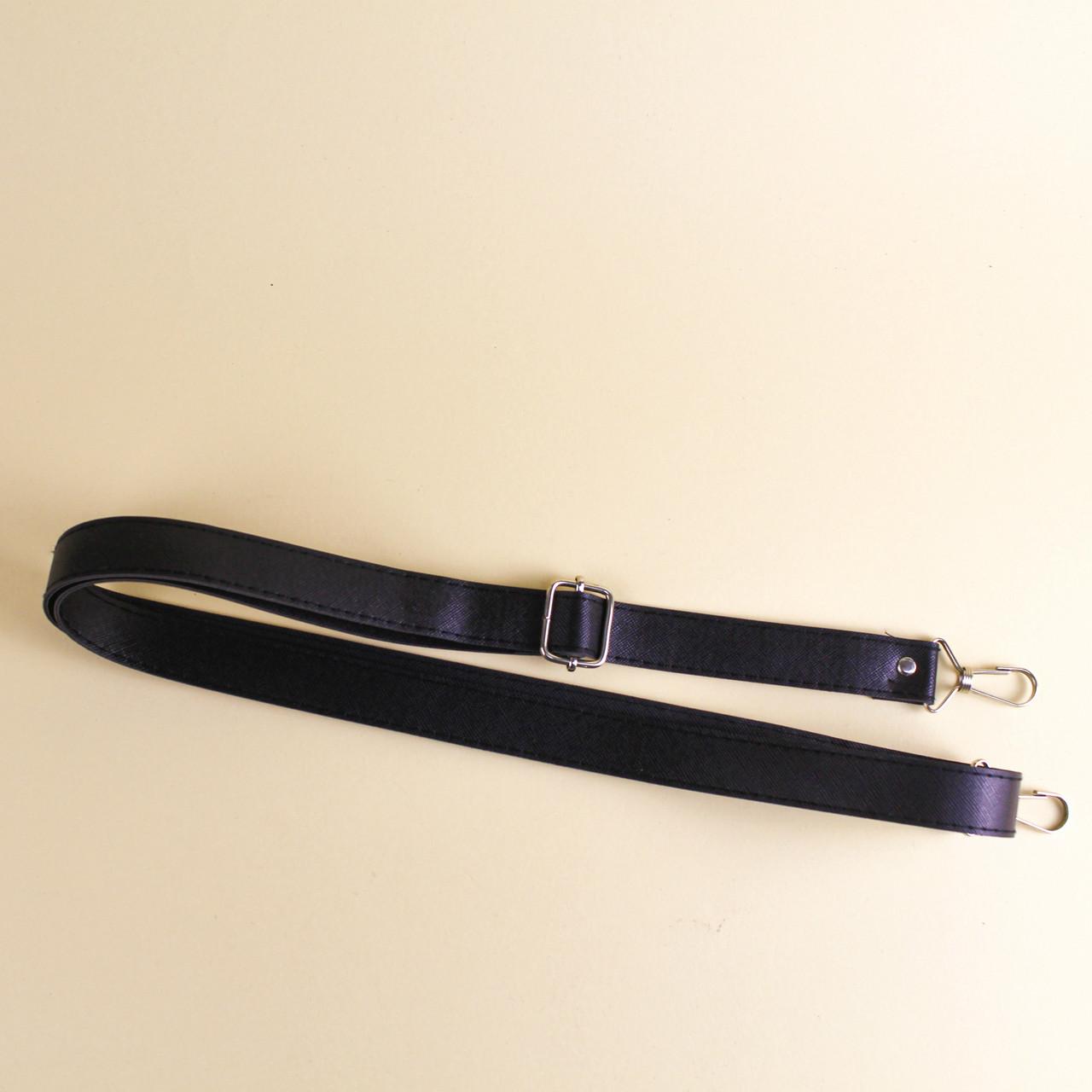 Ручка для сумки экокожа Черная регулируемая 66-130 см на неповоротных карабинах