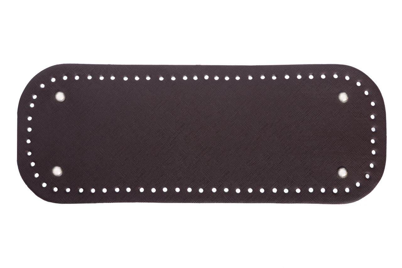 Донышко прямоугольное экокожа 12,5*33 см, Шоколад с ножками серебро
