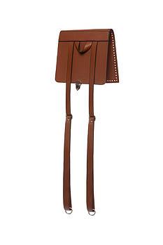 Клапан+задняя стенка для рюкзака экокожа Браун 23см с лямками фурнитура серебро