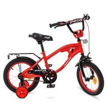KMY14181 Велосипед детский PROF1 14д.   TRAVELER,красный,звонок,доп.колеса