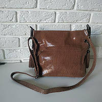 """Женская кожаная сумка с лазерным напылением  """"Электра Brown"""", фото 1"""
