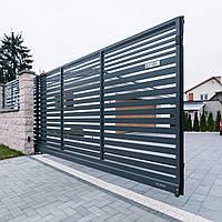 Алюмінієві відкатні ворота 4000*1600 з горизонтальним штахетником