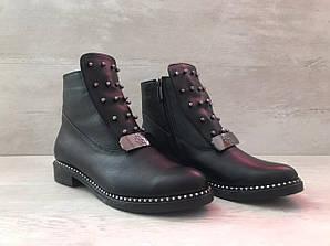 Ботинки женские черные на боковой молнии 37,38,39,40 арт.103