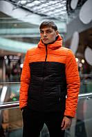 """Куртка мужская демисезонная теплая """"Temp"""" бренда Intruder (оранжевая - черная)"""