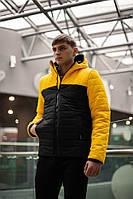 Куртка мужская демисезонная теплая Temp бренда Intruder (желтая - черная)