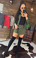 Стильный костюмчик Кофточка+юбка-шорты, хаки, фото 1