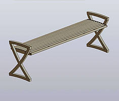 Лавочка S-type (Четырехместная без спинки на тротуар)