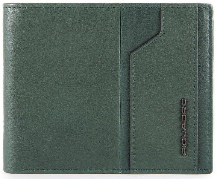Мужское портмоне из натуральной кожи Piquadro Kobe зеленое