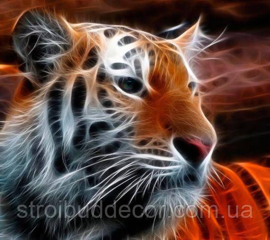 Фотообои 3Д огненный тигр разные текстуры , индивидуальный размер