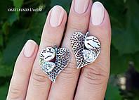Серебряные серьги Листочки, фото 1
