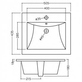 Раковина Jaquar Kubix-F 50 врезная в столешницу (KUS-WHT-35601), фото 2