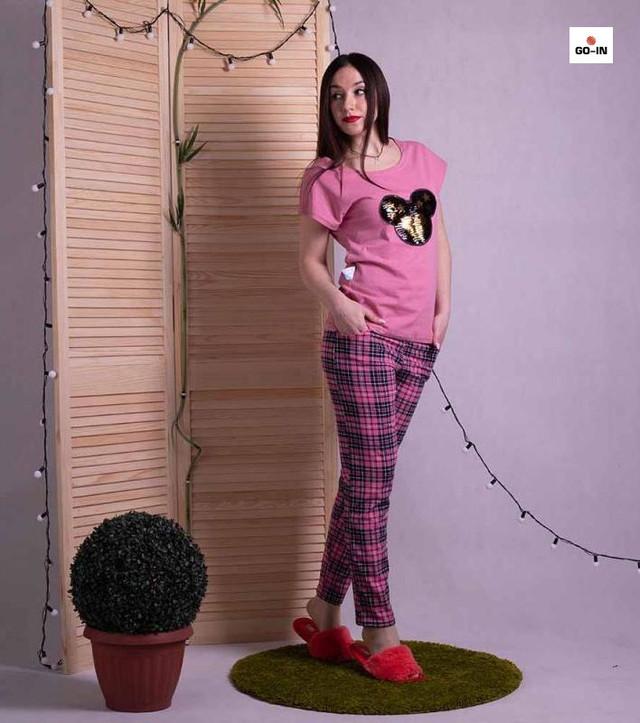 """Пижама женская хлопковая летняя футболка со штанами розовая для дома """"Минни Маус"""" 42-54р."""
