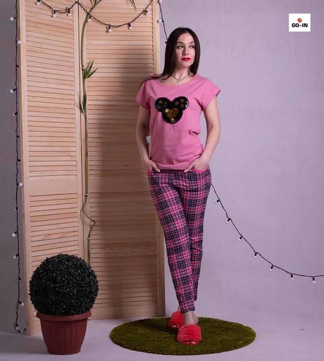 """Пижама женская хлопковая летняя футболка со штанами розовая для дома """"Минни Маус"""""""