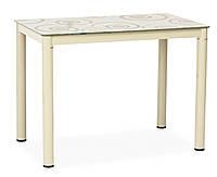 Стеклянный кухонный стол с рисунком Damar 80x60x75см на металлических ножках кремовый Signal Польша