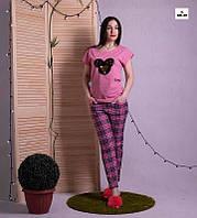 """Піжама жіноча бавовняна літня футболка зі штанами рожева для дому """"Мінні Маус"""" 42-54р."""