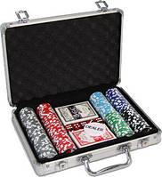 Покерный набор на 200 фишек с номиналом в алюминиевом кейсе