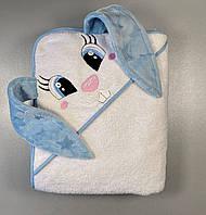 """Детское полотенце для купания с уголком """"Зайка"""", белое, размер 100х120 см"""