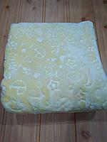 Детский плед одеяло флисовый, желтого цвета