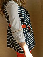 Оригинальный нарядный женский жилет в полоску, удлинненный, сине-белый, офисный, деловой, повседневный