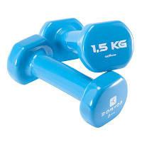 Пара гантелей для фитнеса голубые по 1,5 Кг