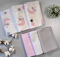 Набор пеленки для новорожденных 6 шт. (3 муслиновые и 3 фланелевые)