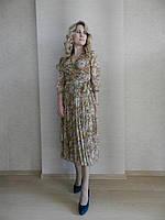 Нарядное шифоновое платье на запах с цветочным принтом, батал, миди, плиссе, на свадьбу, на выпускной, офисное