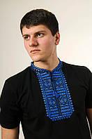 Чорна чоловіча футболка машинної вишивки на короткий рукав «Гладь (синій орнамент)»