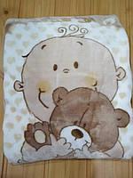 Детский плед одеяло флисовый, бежевого цвета