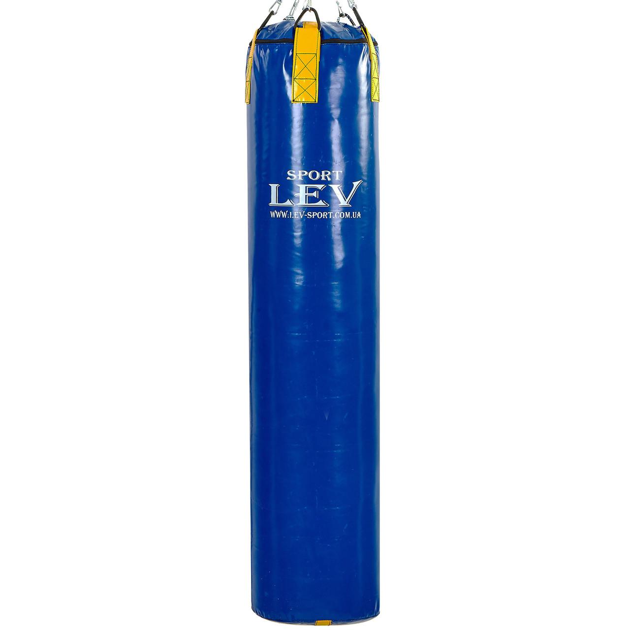 Мешок боксерский Цилиндр Тент h-150см Lev Sport (наполнит.-ветошь, d-33см,вес-80кг, синий-желтый) PZ-LV-2807
