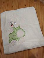 Детский плед одеяло флисовый, молочного цвета