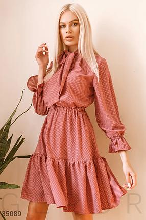 Стильное легкое платье миди в мелкий горошек с воланами фрез, фото 2
